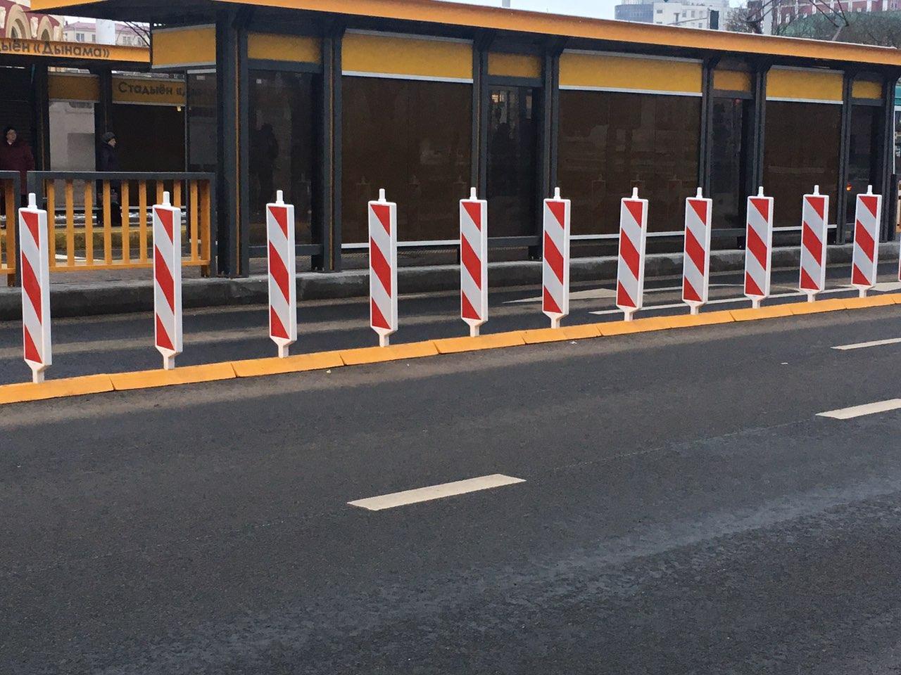 В Брянске на улице Куйбышева установили первые дорожные делиниаторы