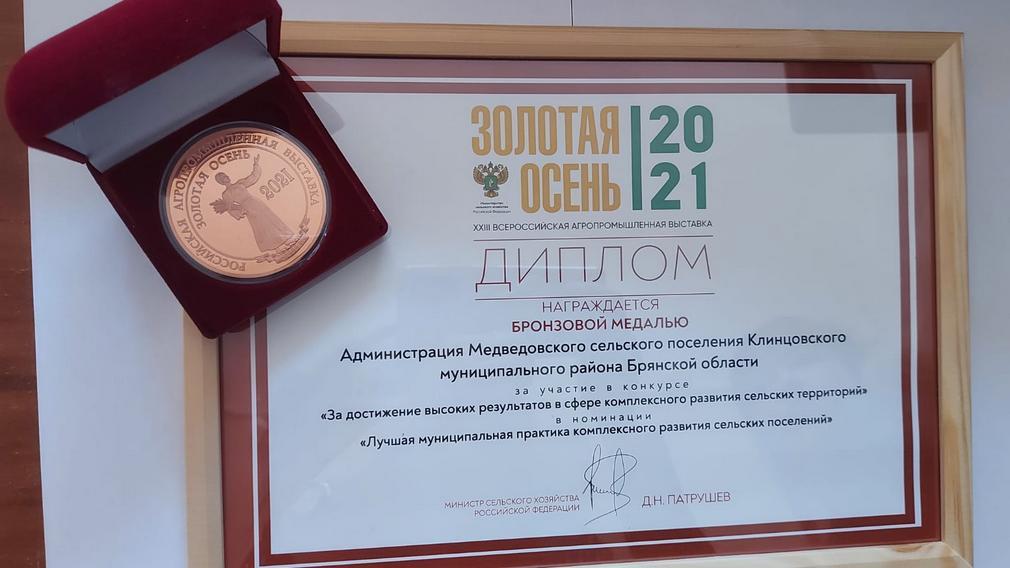 Бронзовую медаль «Золотой осени» вручили Медведковскому поселению Брянской области