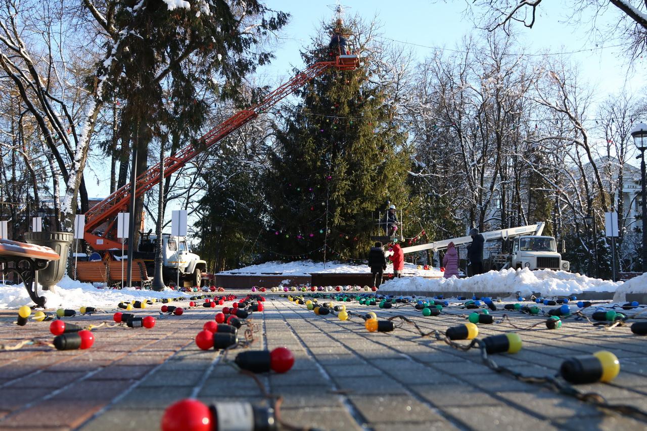 В Брянске украшают главную новогоднюю елку города
