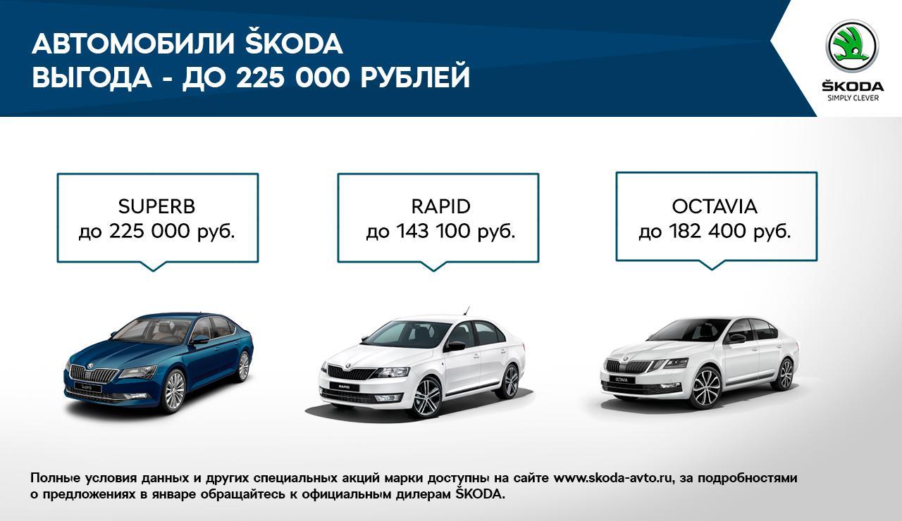 ŠKODA предлагает выгодные условия на покупку автомобилей в январе