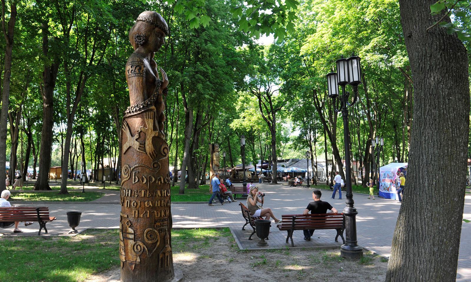 В Брянске в парке Толстого убрали упавшее на машину дерево