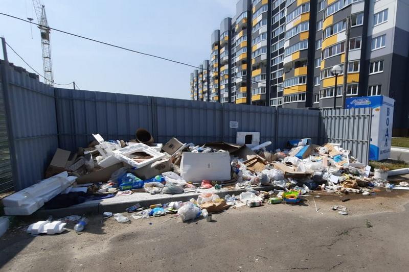 В Брянске на улице Льва Толстого устроили свалку возле контейнеров