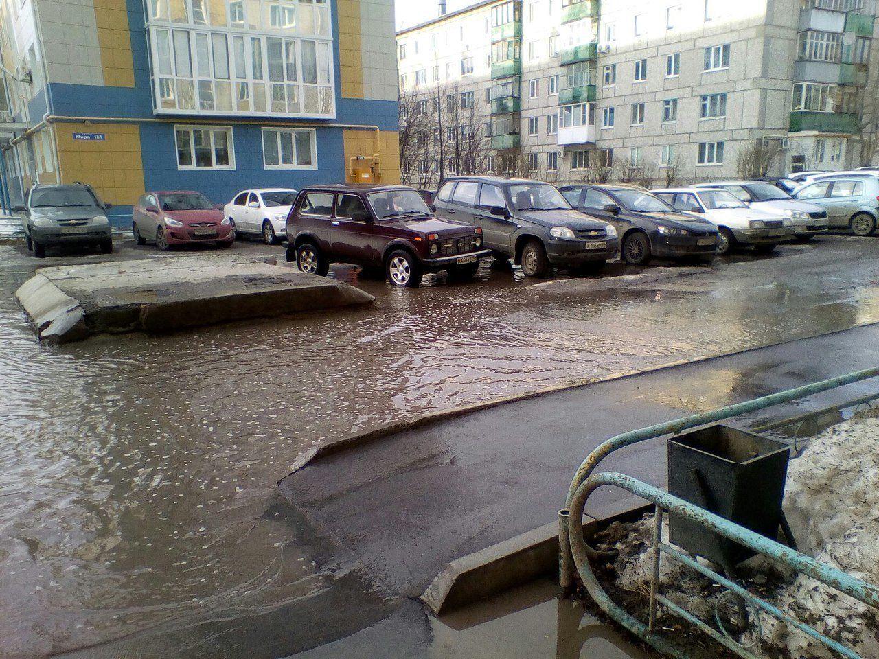 В Брянске затопило двор многоквартирного дома по улице Молодой Гвардии