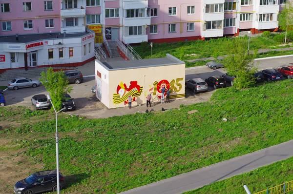 В Брянске к 9 мая украсили граффити трансформаторную будку