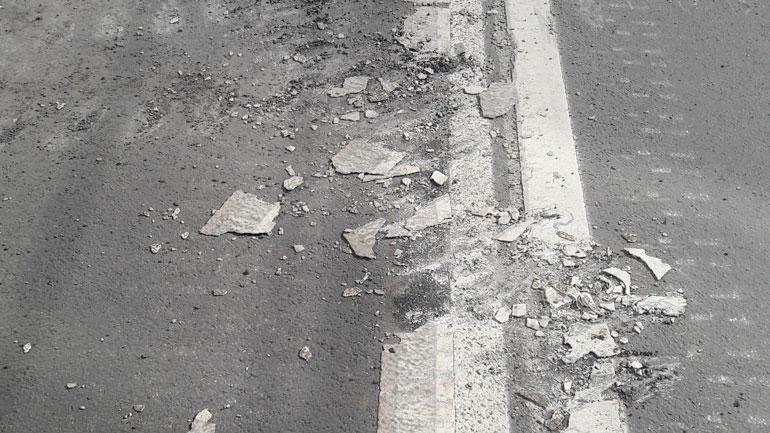 Разметка на улице Красноармейской не выдержала танковой колонны
