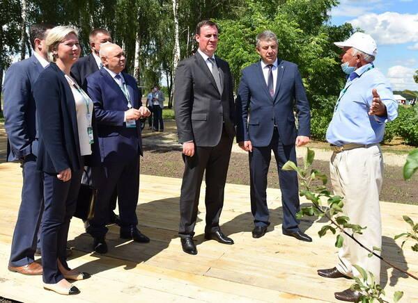 В яблоневом саду под Брянском побывал министр сельского хозяйства Патрушев