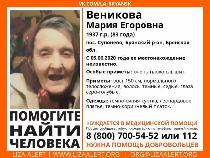 В Брянске ищут пропавшую 83-летнюю пенсионерку