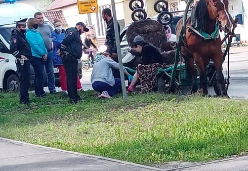 В Брянске повозка цыган попала в ДТП