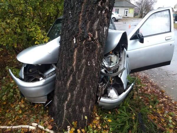 В Карачеве пьяный водитель легковушки врезался в дерево