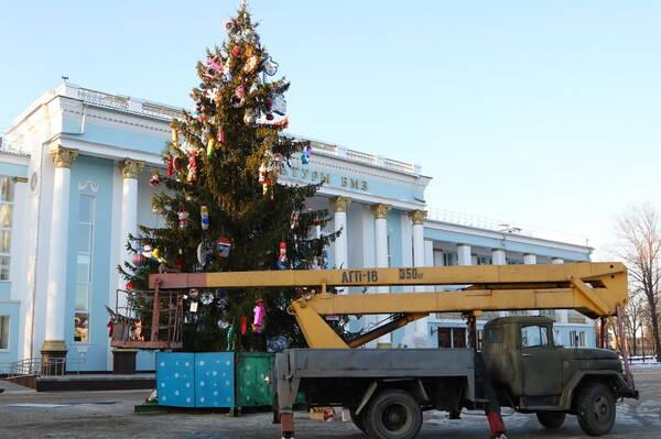 В Брянске у ДК БМЗ установили главную елку Бежицы