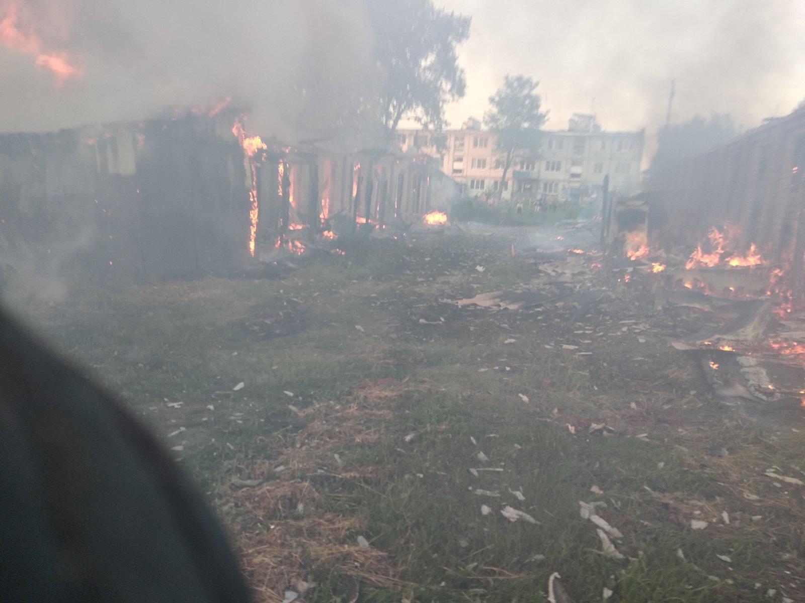 В Дятьковском районе произошел крупный пожар