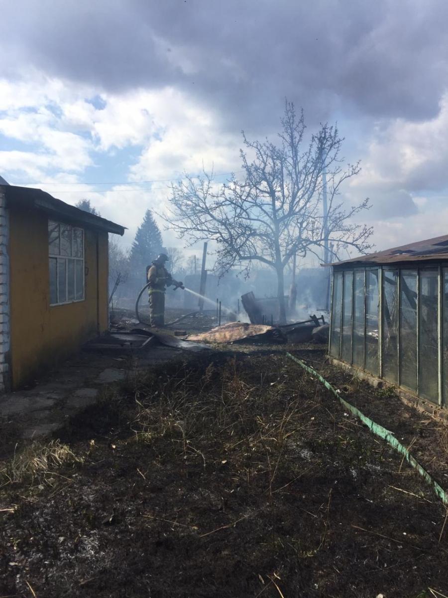 В Фокинском районе Брянска сгорели дачный дом и трава