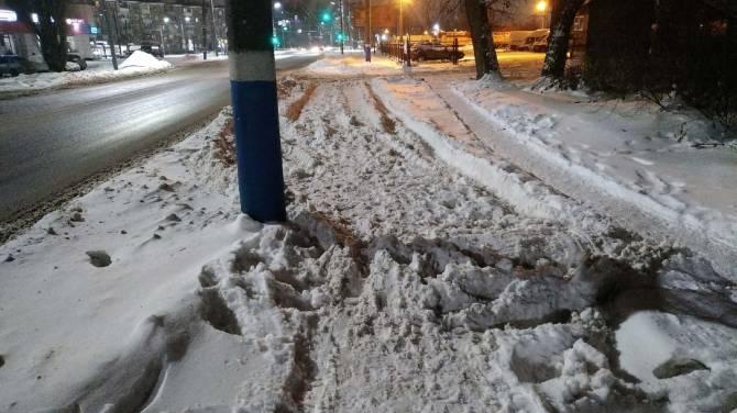 Брянцы пожаловались на заваленные снегом тротуары на улице Литейной
