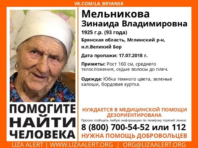 В Брянске пропала 93-летняя женщина