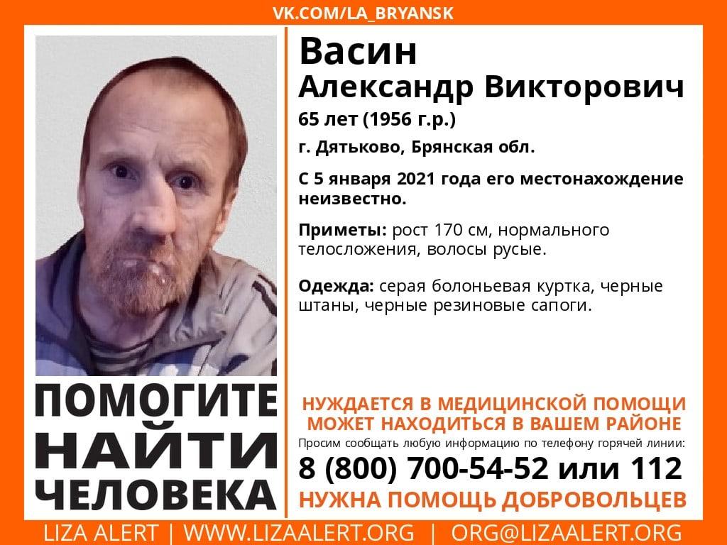 В Брянской области ищут пропавшего 65-летнего Александра Васина