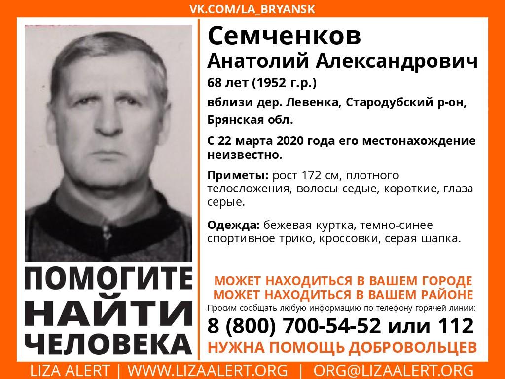 В Брянской области ищут пропавшего 68-летнего мужчину