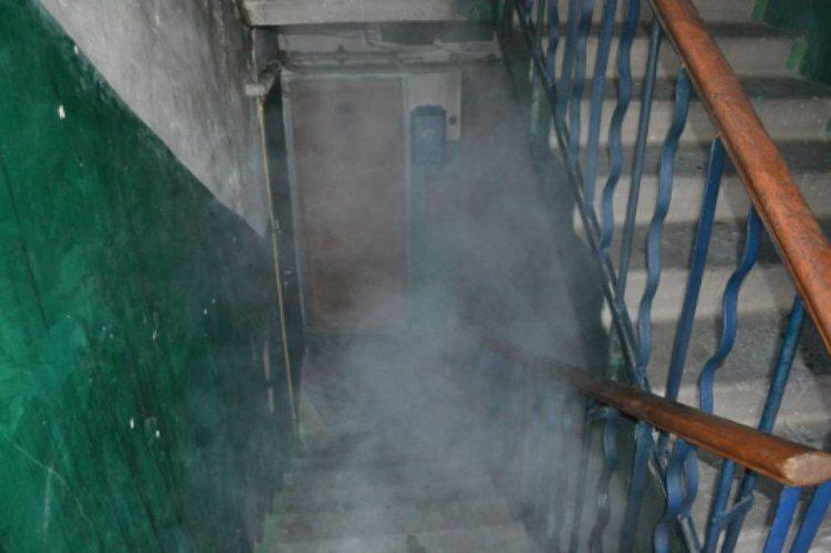 В подъезде брянской многоэтажки загорелся мусорный контейнер