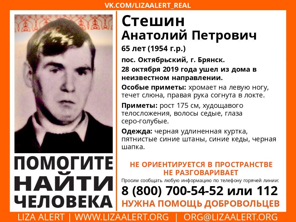 В Брянске до сих не нашли 65-летнего мужчину