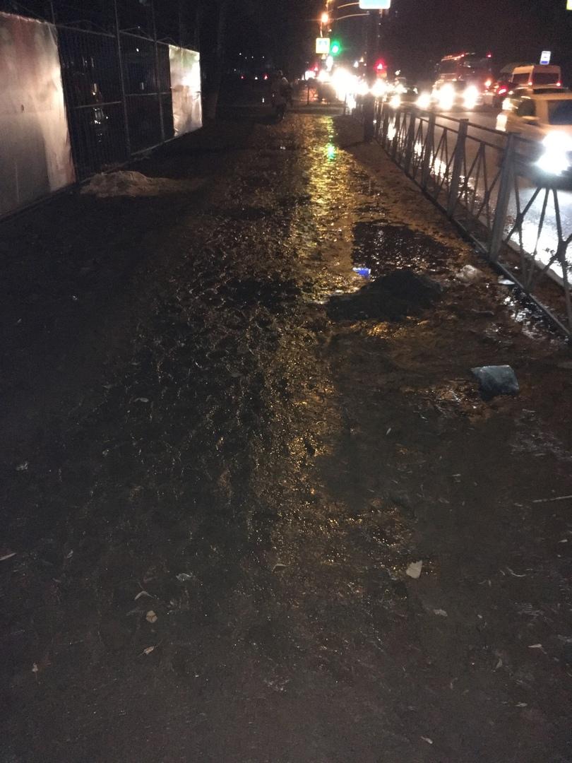 На улице Брянского фронта пешеходы тонут в грязи