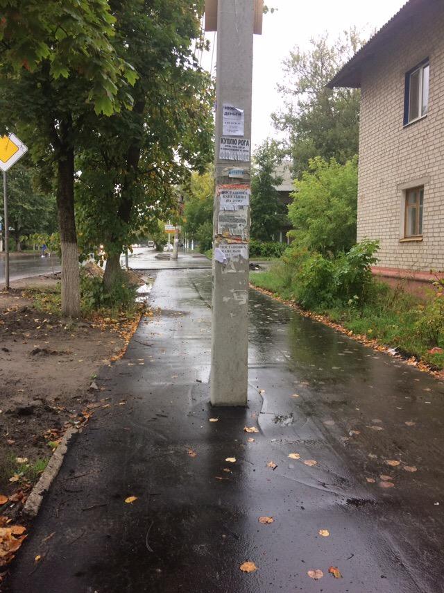 Столб в центре тротуара проверит брянцев на внимательность